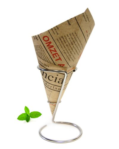 Chip cone newspaper print. Made of 90 grams unbleached greaseproof paper