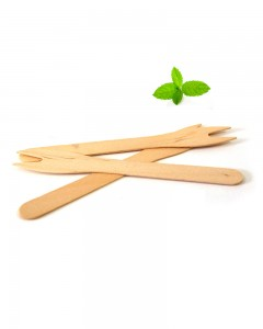 Disposable wooden chip fork Long