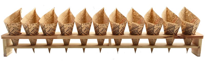 Chip cone holder made of wood, suitable for 11 cones